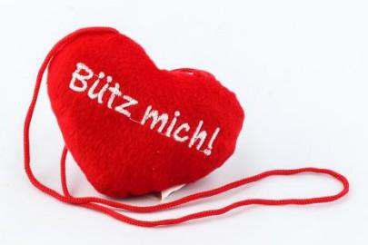"""Bütz mich"" Herz rot"