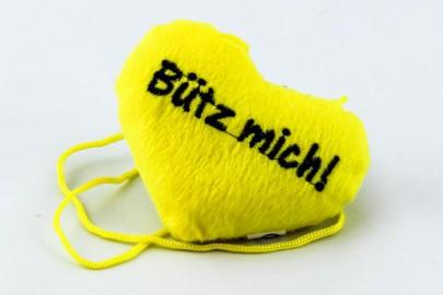 """""""Bütz mich"""" Herz gelb"""