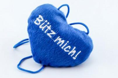"""""""Bütz mich"""" Herz blau"""